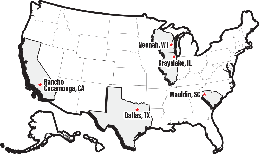 Map of CompX locations in the United States